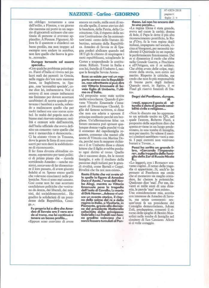 Intervista a s a r il principe amedeo di savoia del 7 for 2 case di storia in florida